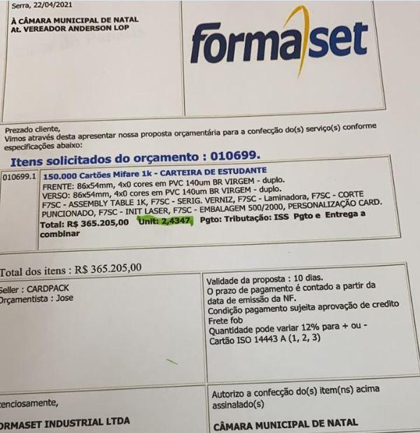 documento Vereador denuncia que Seturn lucra mais de R$ 3 mi com carteiras de estudante