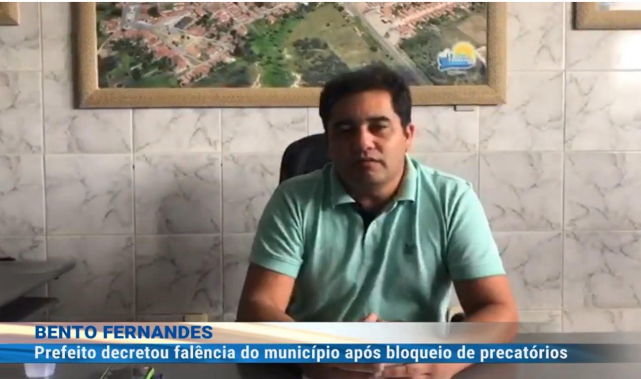Prefeito diz que cidade do RN faliu e não tem dinheiro para pagar servidores
