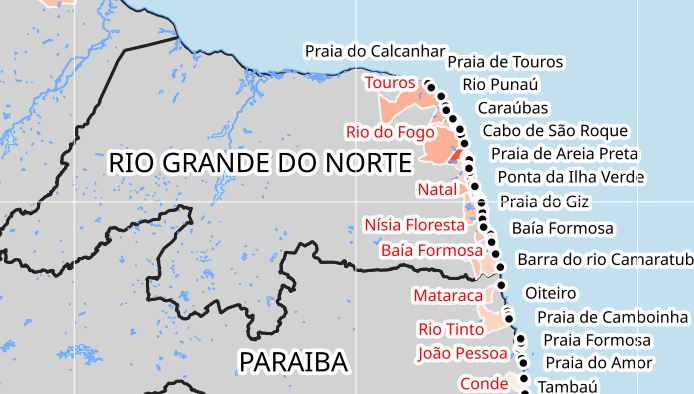 Já são 53 os municípios atingidos por óleo no NE; RN tem 42 locais; veja lista